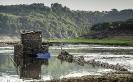 Caneiro no río Miño en Portomarín.
